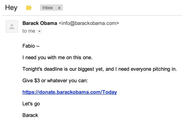 obama email marketing
